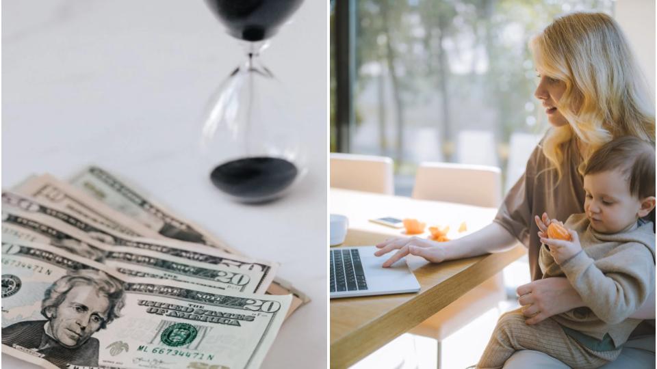 conciliar.duas imagens: à esquerda imagem de dinheiro e ampulheta; à direita imagem de mãe tenta conciliar trabalho e maternidade.