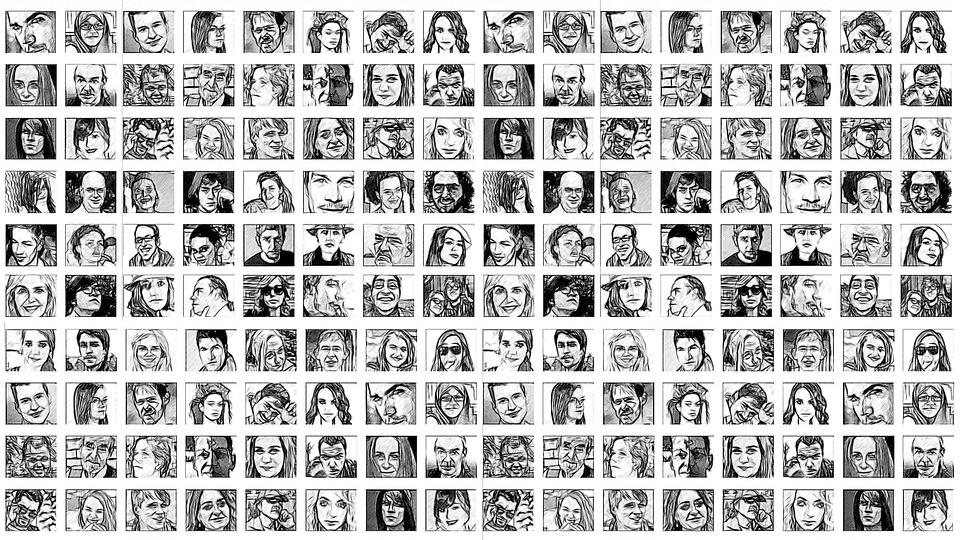 múltiplas inteligências representada por desenhos de rostos de diversas pessoas